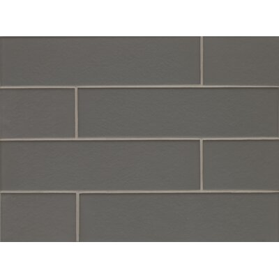 Manhattan 4 x 16 Glass Field Tile in Matte Concrete