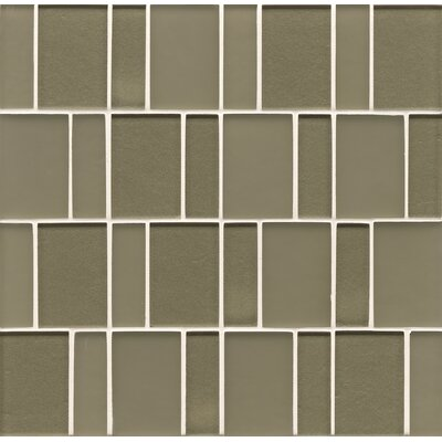 Remy Glass Mosaic Brick Tile in Verdant