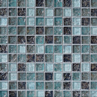 Ice Crackle 1 x 1 Glass Mosaic Tile in Blue