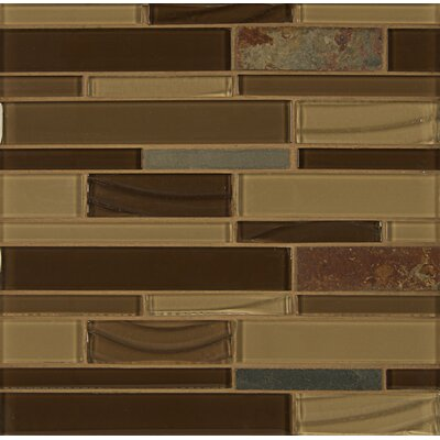 Elume Random Sized Glass Mosaic Tile in Champagne/Chestnut
