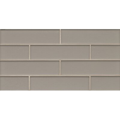 Remy Glass 8 x 16 Glass Mosaic 2x8 Matte Mesh Mounted Tile in Silver