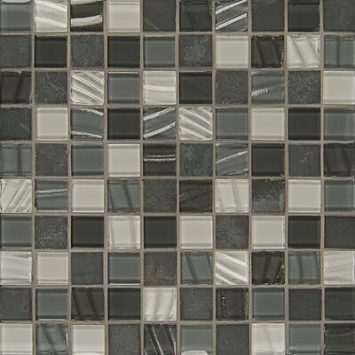 Elume 1.13 x 1.13 Glass and Natural Stone Mosaic Tile in Pewter