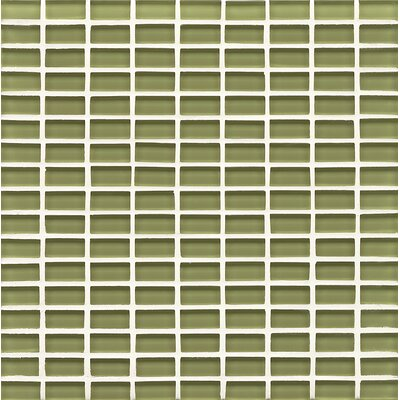 Harbor Glass Mosaic Mini Brick Gloss Tile in Moss