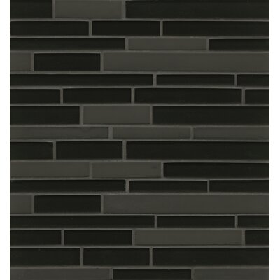 Remy Glass 12 x 13 Mosaic Random Interlocking Tile in Black