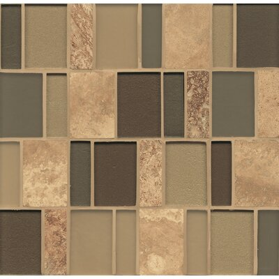 Manhattan Random Sized Glass and Natural Stone Mosaic Tile in Brown/Tan
