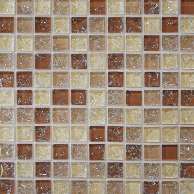 Ice Crackle 1 x 1 Glass Mosaic Tile in Beige