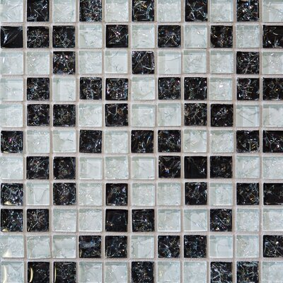 Ice Crackle 1 x 1 Glass Mosaic Tile in Black and Gray