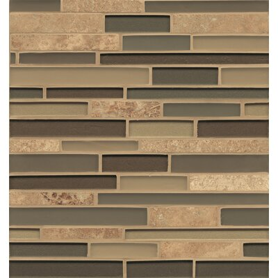 Manhattan Random Sized Glass and Natural Stone Mosaic Tile in Brown