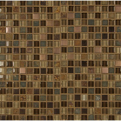 Elume 0.63'' x 0.63'' Glass Mosaic Tile in Brown