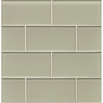 Hamptons 3 x 6 Glass Subway Field Tile in Taupe