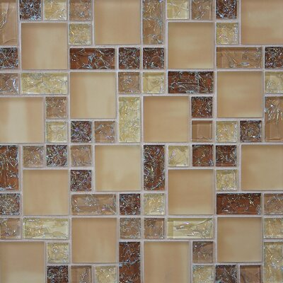 Ice Crackle Random Sized Glass Mosaic Tile in Brown/Tan
