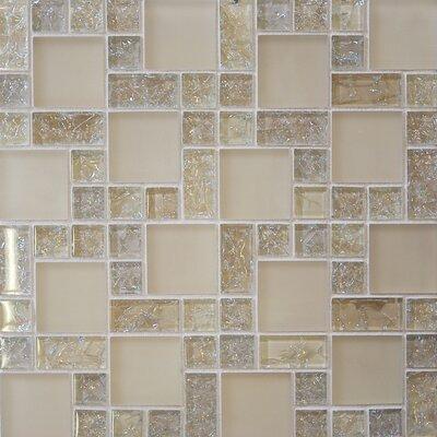 Ice Crackle Random Sized Glass Mosaic Tile in Cream