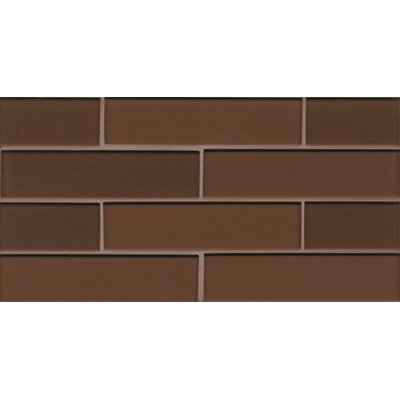 Remy Glass 8 x 16 Glass Mosaic 2x8 Gloss Mesh Mounted Tile in Bronze