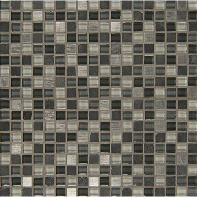 Elume 0.63 x 0.63 Glass Mosaic Tile in Organic Pewter