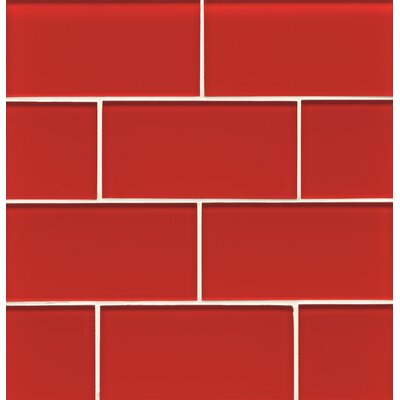 Hamptons 3 x 6 Glass Subway Tile in Red