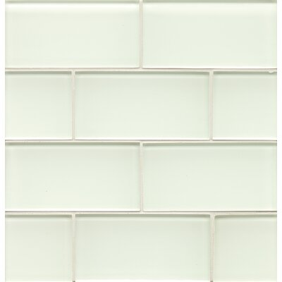 Hamptons 3 x 6 Glass Subway Tile in White Linen