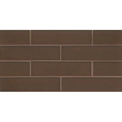 Remy Glass 8 x 16 Glass Mosaic 2x8 Matte Mesh Mounted Tile in Bronze
