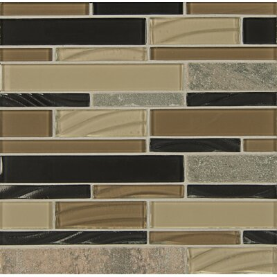 Elume Random Sized Glass Mosaic Tile in Ebony