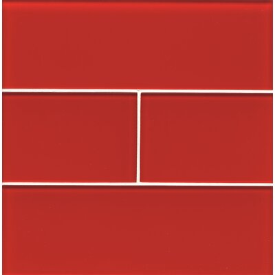 Hamptons 4 x 12 Glass Field Tile in Red