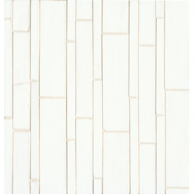 Retrospect Random Sized Glass Mosaic Tile in Palladium White