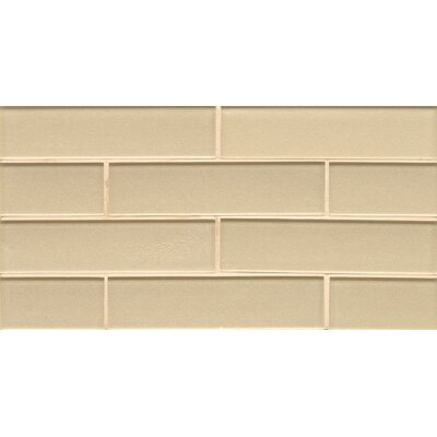 Remy Glass 8 x 16 Glass Mosaic 2x8 Gloss Mesh Mount Tile in Blonde