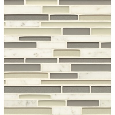 Manhattan Random Sized Glass Mosaic Tile in Polished Gray