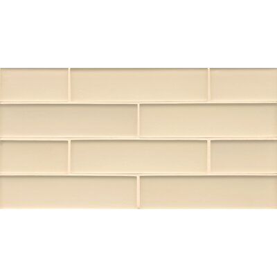 Remy Glass 8 x 16 Glass Mosaic 2x8 Matte  Mesh Mount Tile in Blonde