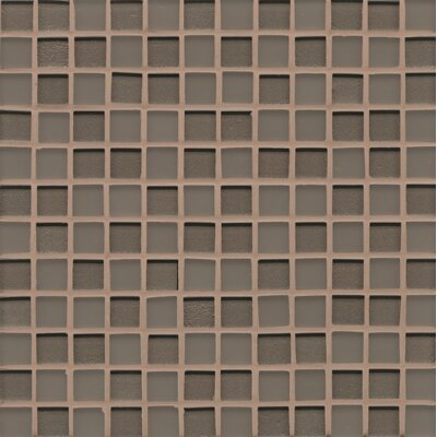 Remy Glass 12 x 12 Mosaic 1x1 Mesh Mounted in Taupe