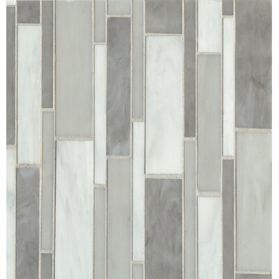 Retrospect Random Sized Glass Mosaic Tile in Silver Mist