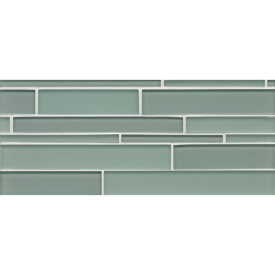 Harbor Glass Mosaic Mini Brick Gloss Tile in Tide