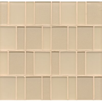 Remy Glass Mosaic Brick Tile in Blonde