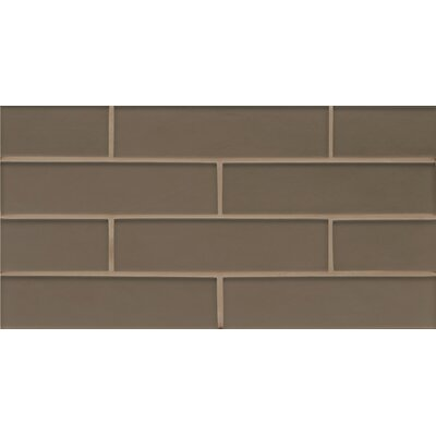 Remy Glass 8 x 16 Mosaic Gloss Mesh Mount Tile in Taupe
