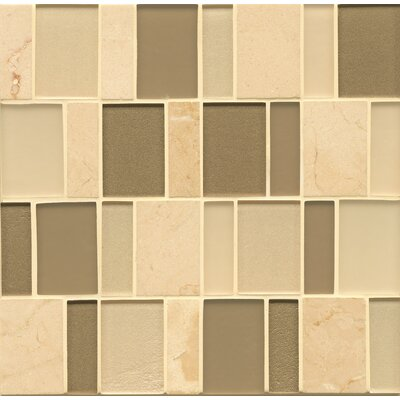 Manhattan Random Sized Glass and Natural Stone Mosaic Tile in Beige and Green