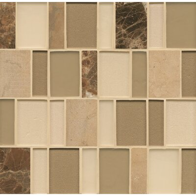 Remy Glass Stone Mosaic Brick Blends Tile in Richland