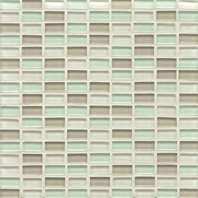Harbor Glass Mosaic Mini Brick Blend Gloss Tile in Breeze