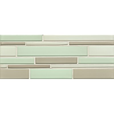 Harbor Glass Mosaic Random Interlocking Gloss Blend Tile in Breeze