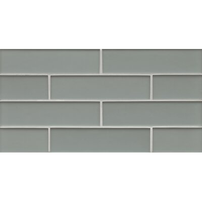 Manhattan 2 x 7.88 Glass Mosaic Tile in Matte Gray