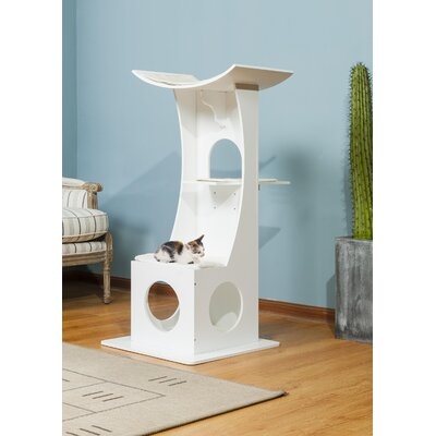 46.5 Simba Cat Condo Color: White