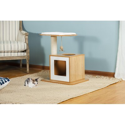 25 Bella Scratch Post Cat Condo Color: Natural White