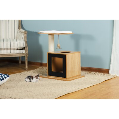 25 Bella Scratch Post Cat Condo Color: Natural Black