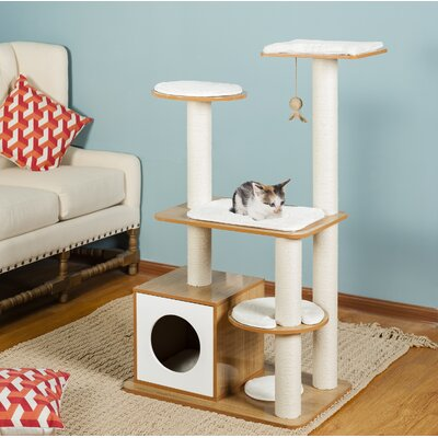 47 Tigger Post Tower Cat Tree Color: Natural White