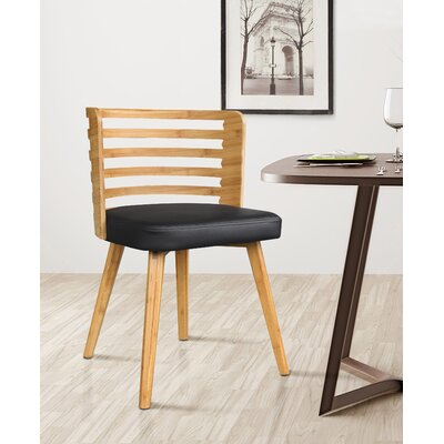 Westhoff Bamboo Upholstered Dining Chair Upholstery Color: Black
