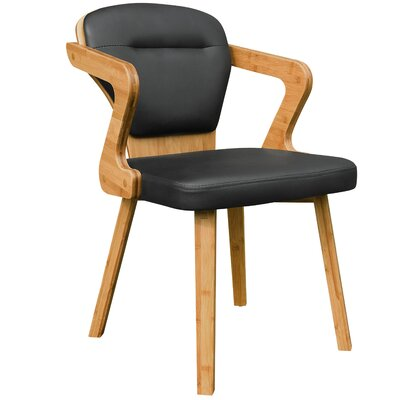 Westphal Bamboo Upholstered Dining Chair Upholstery Color: Black