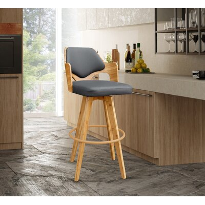 Westman 39.5 Swivel Bar Stool Upholstery: Charcoal
