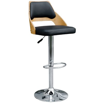 Westfall Adjustable Height Swivel Bar Stool Upholstery: Black