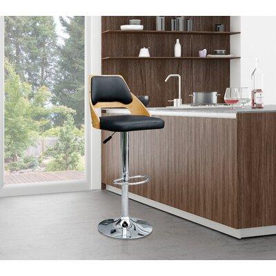 Westfall Adjustable Height Swivel Bar Stool Upholstery: Black