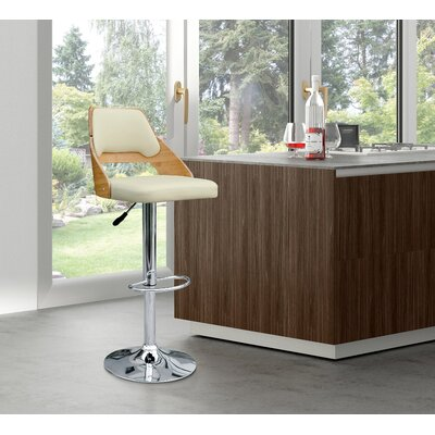 Westfall Adjustable Height Swivel Bar Stool Upholstery: Beige