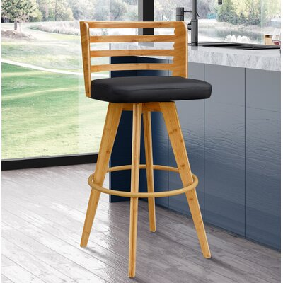 Westover 38 Swivel Bar Stool Upholstery: Black