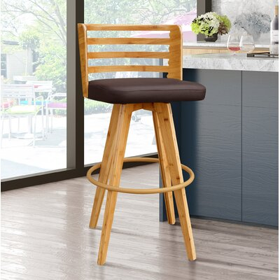 Westover 38 Swivel Bar Stool Upholstery: Brown
