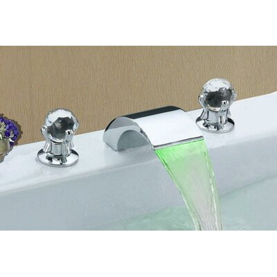 Double Handle Widespread LED Waterfall Bathroom Sink Faucet